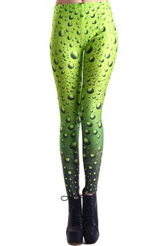 Water Drops Green Leggings. Description These Leggings have been crafted from elastic fabric design, featuring water drops design, a stretchy waist and all in a soft-touch stretch finish. Fabric Dacron and Spandex. Washing 40 degree machine wash , low iron. #Romwe