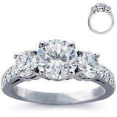 Engagement Ring: Three-Stone, Pave Diamonds, Platinum