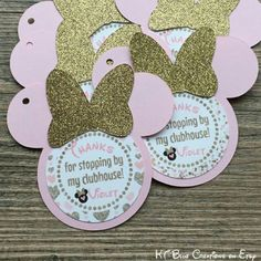 Favor tags. Pink and gold minnie mouse birthday party. Etsy