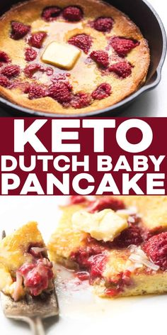 Keto Raspberry Dutch Baby Pancake Recipe – a fluffy, oven-baked, low carb pancake. Only eight net carbs! Best Keto Pancakes, Baby Pancakes, Low Carb Pancakes, Pancakes Easy, Low Carb Breakfast, Breakfast Recipes, Pancake Breakfast, Dairy Free Keto Pancakes, Sugar Free Breakfast