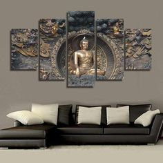 5 Piece Buddha statue Canvas - Home Wall Deco Buddha Canvas, Buddha Wall Art, Buddha Decor, Buddha Painting, Buddha Artwork, Home Decor Pictures, Wall Art Pictures, Canvas Pictures, Canvas Home