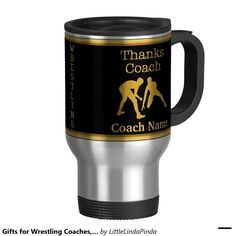 Coach MUG Personalized Wrestling Coach Gifts with Your TEXT and Black and Gold or Your Team COLORS: http://www.zazzle.com/gifts_for_wrestling_coaches_your_text_and_colors_15_oz_stainless_steel_travel_mug-168899486541068415?rf=238147997806552929  More Gift ideas for wrestling coaches HERE: http://giftsforcreativepeople.com/personalized-wrestling-gifts-for-coaches-and-wrestlers/ and our wrestling shop: http://www.zazzle.com/littlelindapinda/gifts?cg=196019685399204777&rf=238147997806552929…