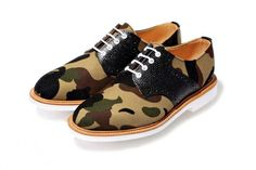 A Bathing Ape x Mark McNairy 1st Camo Canvas Saddles Shoes: FRESH.