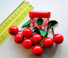 Brooch Bakelite Cherries Carved Dangling Cherries Bar Pin