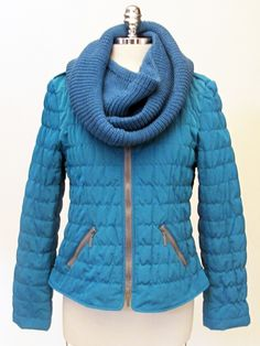 Azura Boutique - Javier Simorra Quilted Teal Jacket with Scarf, $385.00 (http://www.shopazura.com/javier-simorra-quilted-teal-jacket-with-scarf/)