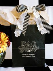 #WelcomeToIndianapolis! If you can't say it in person when they arrive at their hotel, this is the perfect way to greet your wedding guests. This #weddingwelcomebag is fun yet classic. The black/ivory combination is neutral enough to work with any wedding. After all, you are not walking down the aisle with the bag in our hands. The welcome bags need to stand on their own merit & be beautiful in the surrounding in which they will be given. www.FavorsYouKeep.com  #IndianapolisWeddingIdeas…