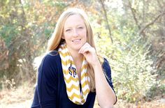 Monogrammed Mustard Infinity Scarf! WhoopsieDaisyDesigns.com MUST have!! Chevron yellow scarf with monogram! Perfect for spring wardrobe / spring fashion must have for teens / tweens / moms too