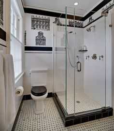 glass shower, basketweave tile floor, black wooden oilet seat. traditional bathroom by Tracey Stephens Interior Design Inc