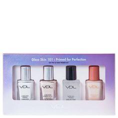 VDL Glass Skin Primed for Perfection Mini Primer Set Glass Skin, Face Forward, Makeup Application, Perfect Skin, Makeup Palette, Skin Care Regimen, Blur, Veil, Moisturizer