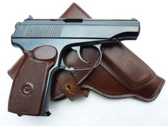 Deactivated Russian PM Makarov 9mm automatic pistol with holster