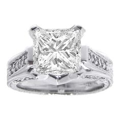 Princess Diamond Vintage Pave Cathedral Engagement Ring