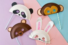 Tiermasken: Masken aus Papptellern Basteln Animal Masks: Masks made of paper plates Crafting Paper Plate Animal Masks, Animal Masks For Kids, Animal Crafts For Kids, Mask For Kids, Kids Crafts, Diy Crafts To Do, Crafts For Teens To Make, Diy Arts And Crafts, Diy For Kids