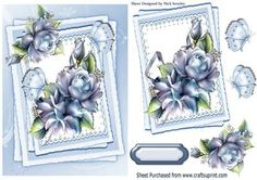 Pretty blue roses and butterflies on lace on Craftsuprint - Add To Basket!