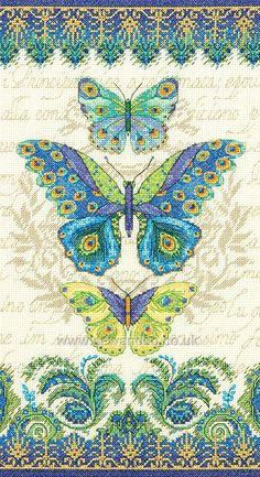 Peacock Butterflies http://www.sewandso.co.uk/Products/Peacock-Butterflies-Cross-Stitch-Kit__DIM-70-35323.aspx