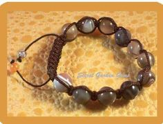 Shambala Bracelet Brown Cord Agate Stone Bead Bracelet
