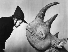 salvatore dali and a rhino
