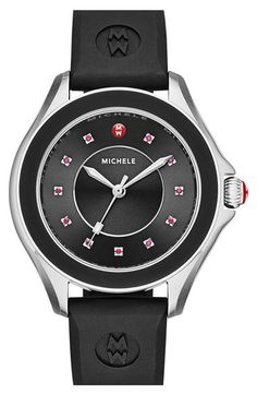 MICHELE MICHELE 'Cape' Topaz Dial Silicone Strap Watch, 40mm available at #Nordstrom