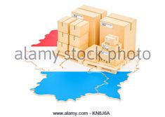 Shipping and Delivery from Luxembourg isolated on white background - Stock Photo