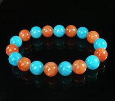 Bicolor LIGHT BLUE ORANGE Chinese Jade Gem Prayer Mala Beads Bracelet  WZ95