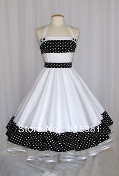 e7943fadabf3 White with Polka Dot Petticoat Rockabilly Swing Dress 50 s Girls ladies   Lolita Princess Party