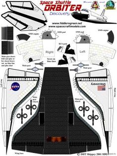 """The shuttle made of paper, paper model download free - Space - Product models - """"Only Paper"""" Paper Airplane Models, Model Airplanes, Paper Planes, Paper Car, Paper Toys, Paper Aircraft, Free Paper Models, Paper Crafts Origami, Paper Folding"""