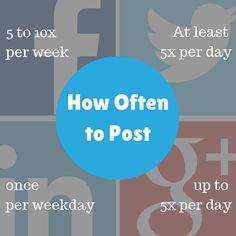 How Often to Post to Social Media // Twitter – 1-3pm weekdays Facebook – 1-4pm and 2-5pm weekdays LinkedIn – 7-8:30am and 5-6pm Tuesday, Wednesday, and Thursday Tumblr – 7-10pm weekdays and 4pm on Fridays Instagram – 5-6pm weekdays and 8pm on Mondays with a sweetspot at 6pm Pinterest – 2-4pm and 8-11pm weekdays with weekends being the best Google+ – 9-11am weekdays