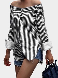 Black Stripe Off The Shoulder Long Sleeves Blouses