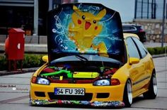 with awesome Pokémon Pikachu hood art Honda Vtec, Honda Civic Hatchback, Civic Sedan, Subaru Impreza Sti, Civic Eg, Honda Prelude, Tuner Cars, Audi Cars, Sexy Cars