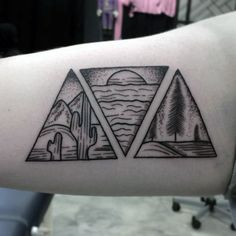 Nature Based Three Triangles Tattoo On Arms