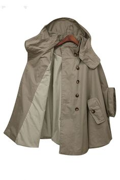 Green capehoodie trench coat with double breasted von RenzRags
