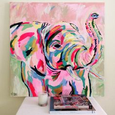 Fancy elephant by megan carn, 2014 art club sanat fikirler, Painting Inspiration, Art Inspo, Cool Paintings, Indian Paintings, Abstract Paintings, Abstract Art, Love Art, Painting & Drawing, Pink Painting