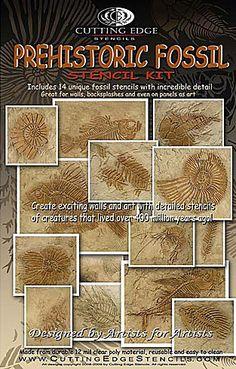 Prehistoric Fossil Stencil Kit  See more Fossil stencils: http://www.cuttingedgestencils.com/fossil-stencils-fossils-wall-stencils.html