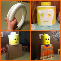 "I have looked at lots of lego costume tutorials and I just wanted to share my shortcut: I used a 12"" foam wreath cut in half to form the curved edges of the head and hot glued & taped a 9"" tall piece of mat board (which was light weight but sturdy) in a tube between the wreath pieces. I think it really captured the right shape!"
