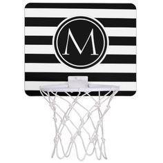Elegant Monogram Striped Mini Basketball Hoop