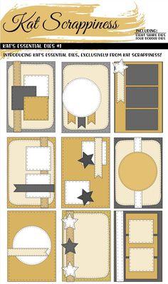 Crafters Essentials I Dies by Kat Scrappiness scrapbook wedding layouts Ideas Scrapbook, Scrapbook Layout Sketches, Scrapbook Journal, Scrapbook Designs, Card Sketches, Scrapbook Albums, Scrapbook Supplies, Scrapbook Cards, Simple Scrapbooking Layouts