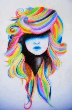 Cool art ideas really bright hair face i would love to draw this nail pixel for . Voll Arm-tattoos, Creation Art, Drawn Art, Bright Hair, Colorful Hair, Multicolored Hair, You Draw, Pics To Draw, Rainbow Hair