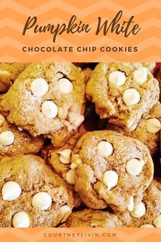Delicious, easy, perfect for fall! Pumpkin White Chocolate Chip Cookies by Courtney Livingston
