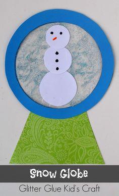 Snow Globe Glitter Glue Kid's Craft | Use glitter glue and a plastic baggie to create a fun winter themed kid's craft!