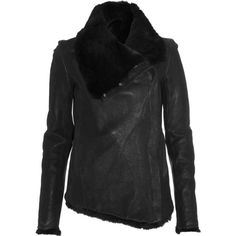 Helmut Lang Leather Fur Jacket - Black size Small ($1,820) ❤ liked on Polyvore featuring outerwear, jackets, clothing & accessories, coats & jackets, fur, women, fur leather jacket, 100 leather jacket, side zip leather jacket and asymmetrical jacket