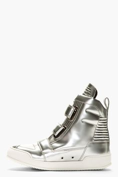 BALMAIN Silver Patent Leather High Top Sneakers