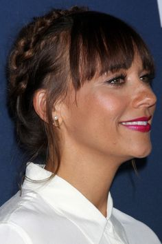 Crown Braid And Straight Blunt Bangs - Today Hair Styles