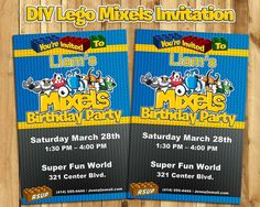 Lego Mixels Birthday Invitation Lego Mixels by InstantBirthday