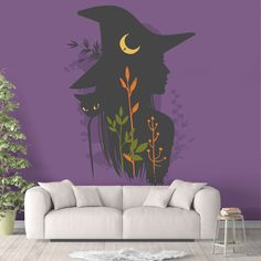 Witch Silhouette Peel and Stick Animal Wallpaper Trending Purple Black Sharp Shirter - Canvas Wall Decal / 1 roll: 24W x 84H