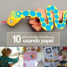 Toda semana o Tempojunto traz ideias de atividades criativas para crianças. Desta vez o material usado nas 10 dicas é algo que todo mundo tem em casa: papel