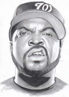 Nice drawing of Ice Cube Afro Samurai, Realistic Drawings, Art Drawings Sketches, Pencil Drawings, Ice Cube Drawing, Gif Naruto, Black Art Pictures, Beautiful Pictures, Rapper Art