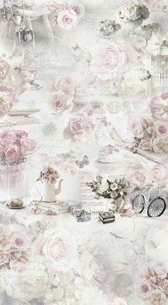 Shabby Chic in Pale Pink Roses Decoupage Art, Decoupage Vintage, Vintage Diy, Vintage Paper, Flowery Wallpaper, Paris Wallpaper, Shabby Chic Wallpaper, Background Vintage, Paper Background