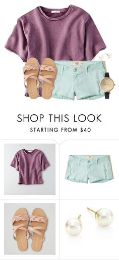 """""""Chilling"""" by victoriaann34 on Polyvore featuring American Eagle Outfitters, Hollister Co. and Majorica"""