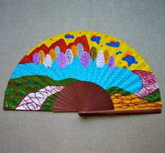 "Abanico pintado a mano de la serie ""Paisajes imaginarios"". Un abanico, una obra de arte. #abanicospintadosamano #abanicosmodernos #abanicoespañol #regalosdeempresa"