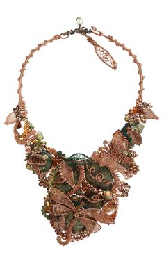 Jewelry Design - Bib-Style Necklace with Wirework, Gemstone Beads, Cultured Freshwater Pearls and Swarovski Crystal Beads - Fire Mountain Gems and Beads