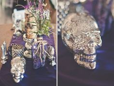 pewter vases and candles (maybe without the skulls... though I do love a good zombie tv show or flick)